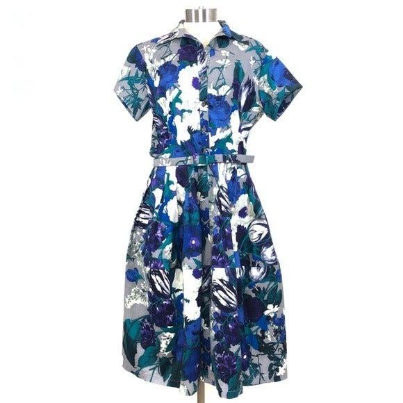 SAMANTHA SUNG Audrey Belted Floral Dress
