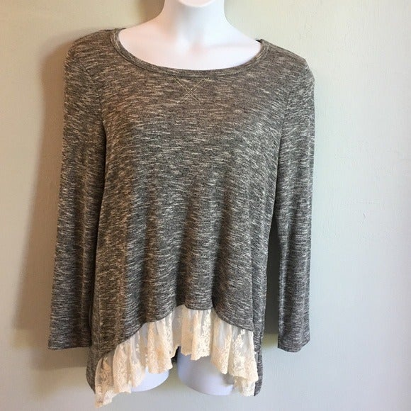 One World Long Sleeve Top Grey with Lace