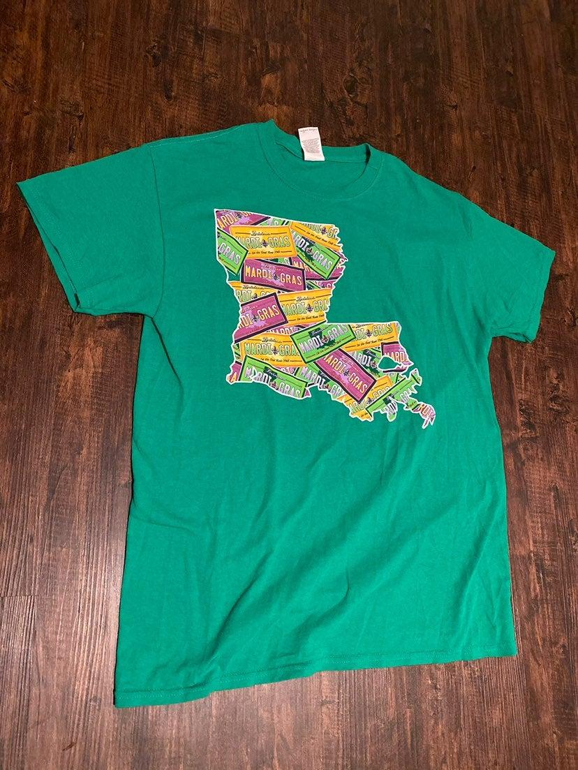 Green Louisiana Travel State T-Shirt