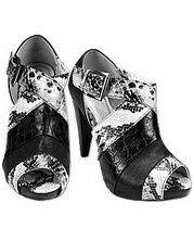 BKE Sole Black Snakeskin Buckle Sandals