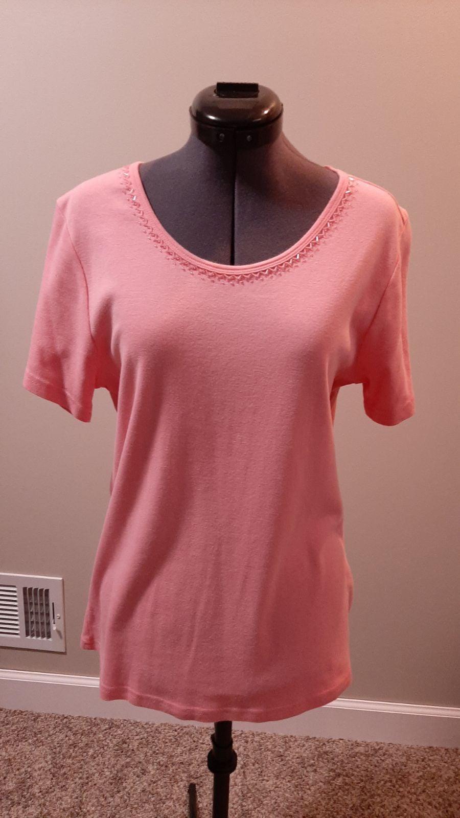 Karen Scott Pink Shirt Beaded Neckline