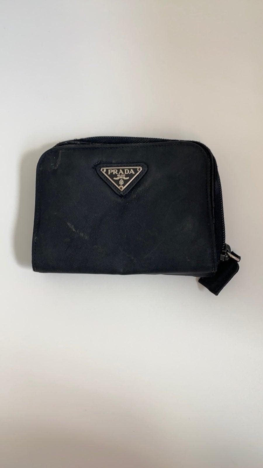 Prada nylon and leather wallet