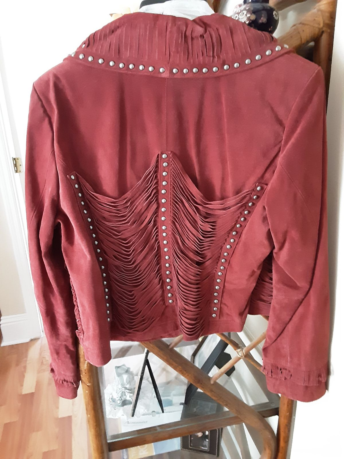 Pamela McCoy leather suede Fringe jacket
