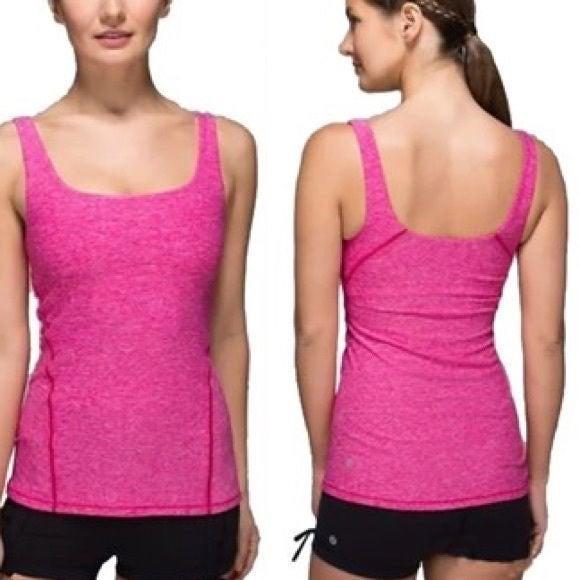 Lululemon 8 Tank Top T-Shirt w Bra Pink