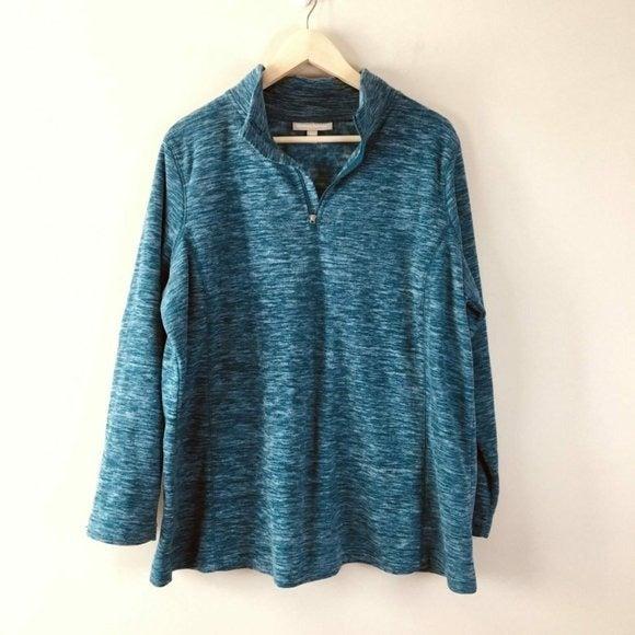 Woman Within Quarter Zip Fleece Sweater