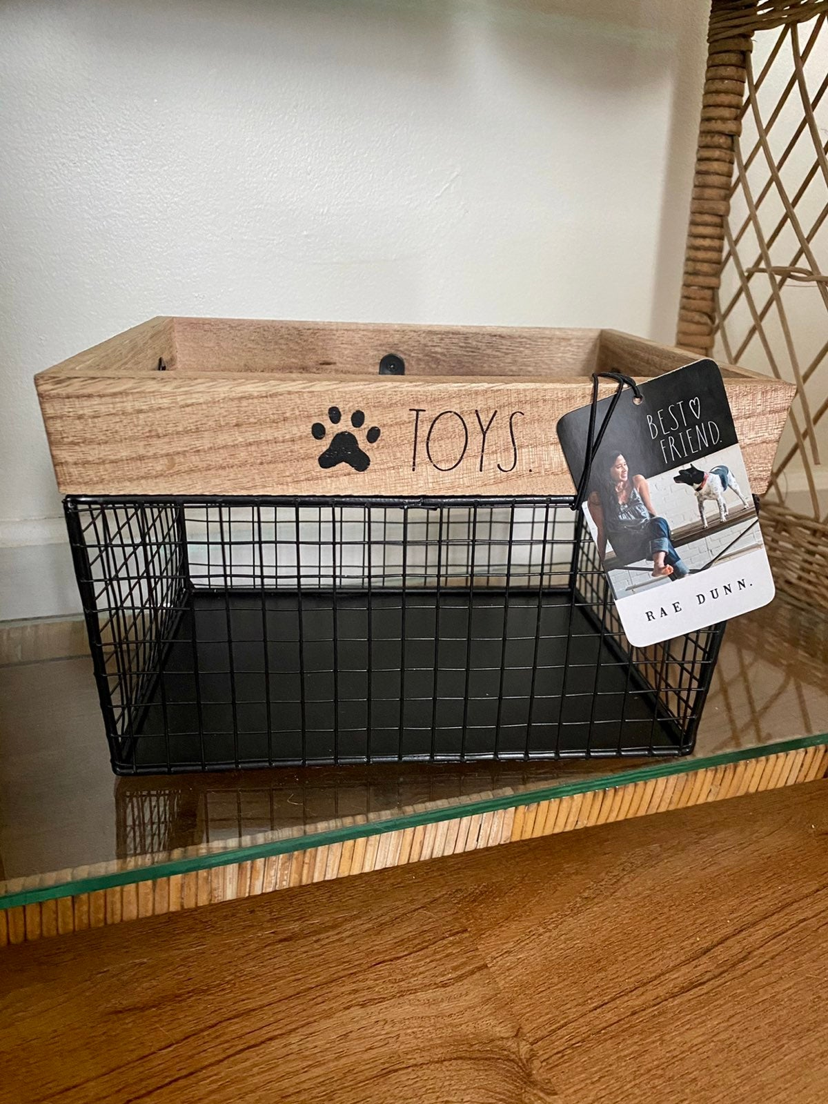 Rae Dunn TOYS. Wire Dog Basket