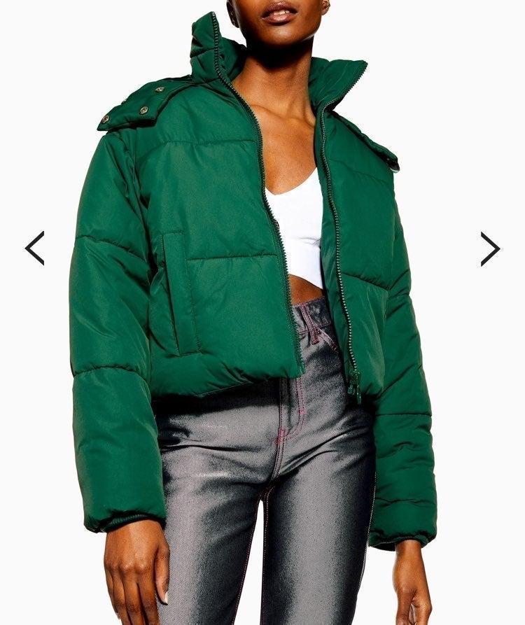 green puffer jacket topshop