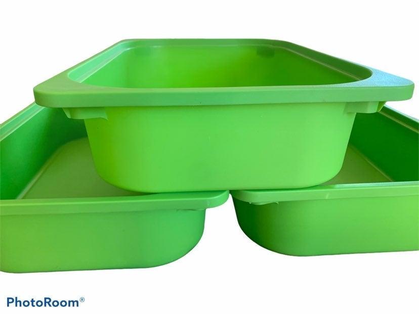 3 Trofast Bins Boxes Green Storage