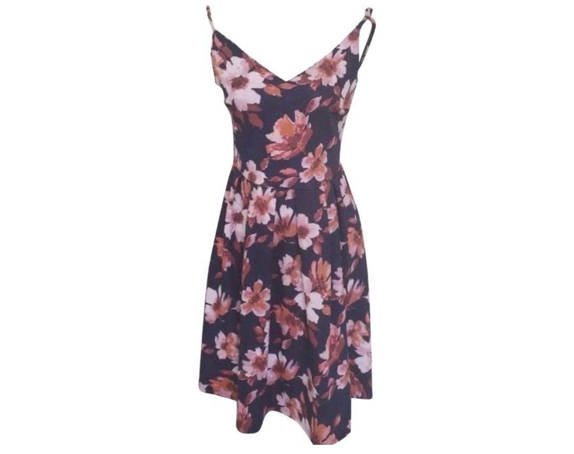 Black Pink Floral Dress