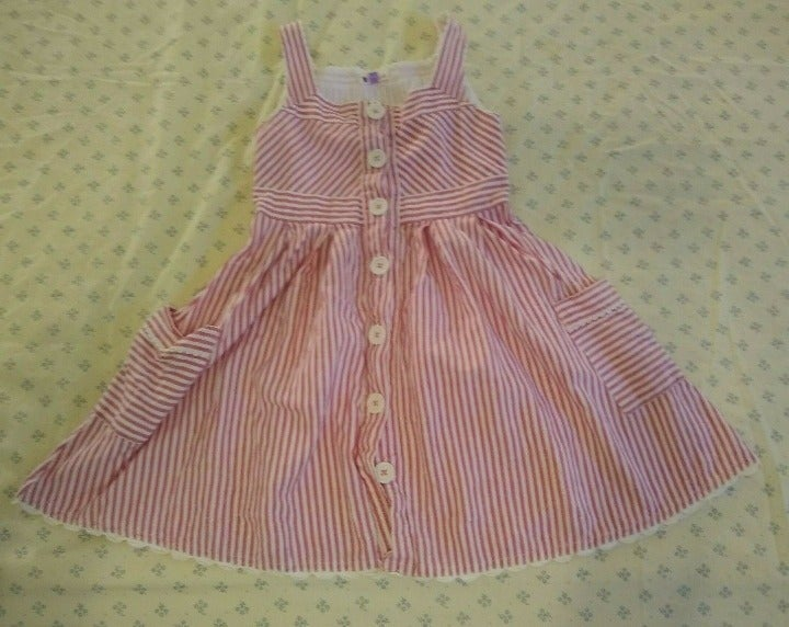 JOHN LEWIS Girls Pink Striped Dress Sz 5
