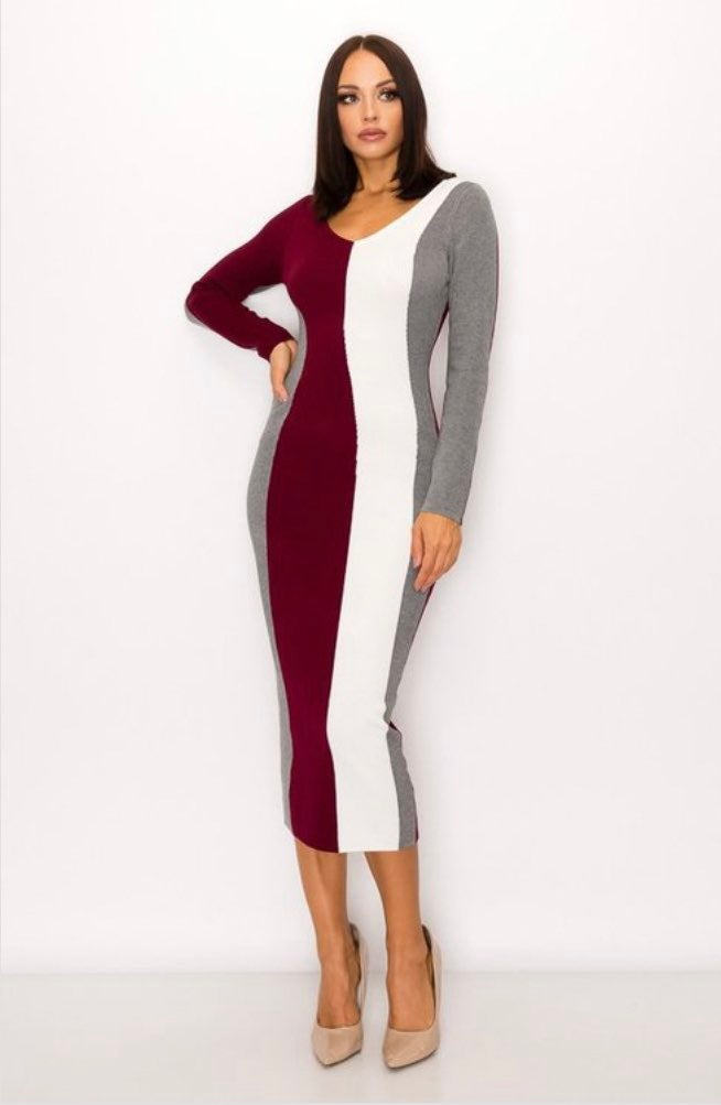 Striped, knitted midi dress body con fit