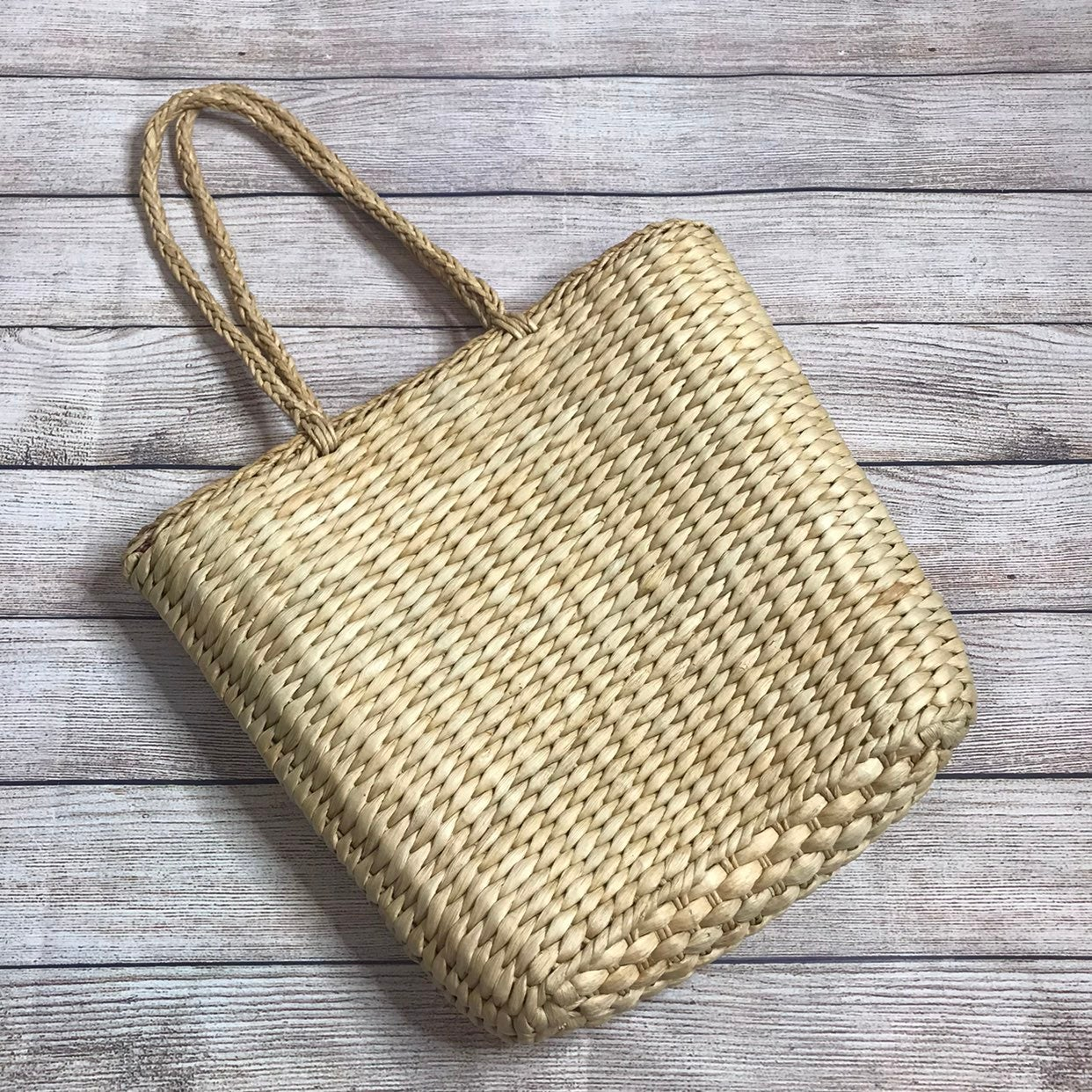 Old Navy Basket Purse with Red Check Int