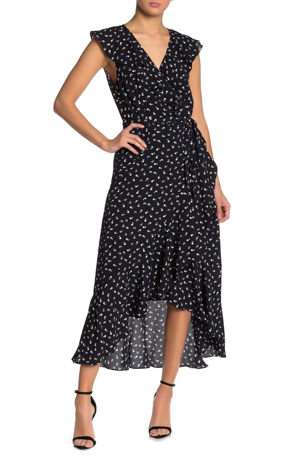 MAX STUDIO Patterned Ruffle Wrap Midi