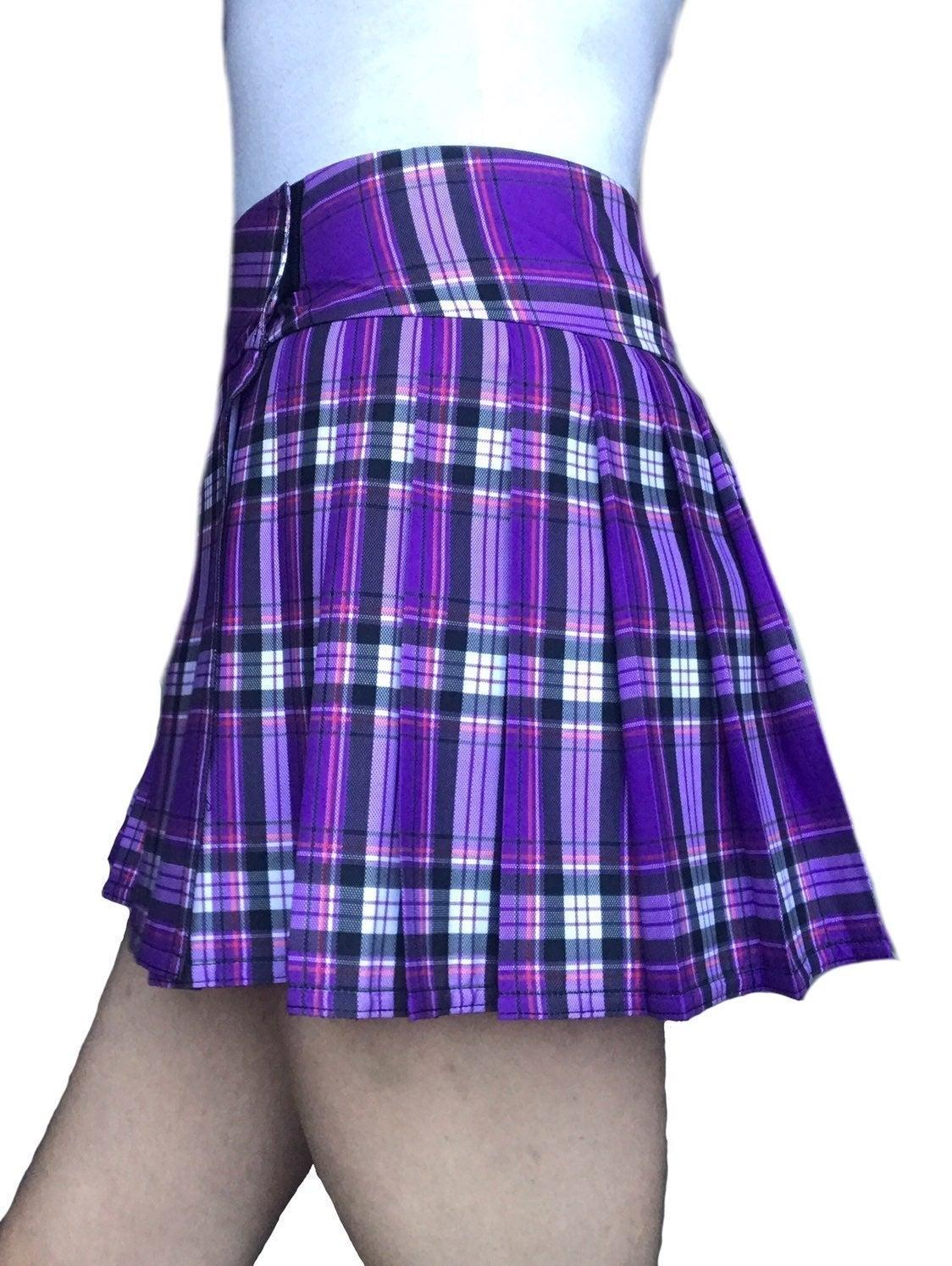 School Girl Mini Skirt:  Blue, Orange, R