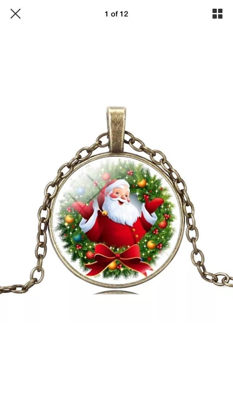 Bronze Chain Santa Claus Necklace Gift