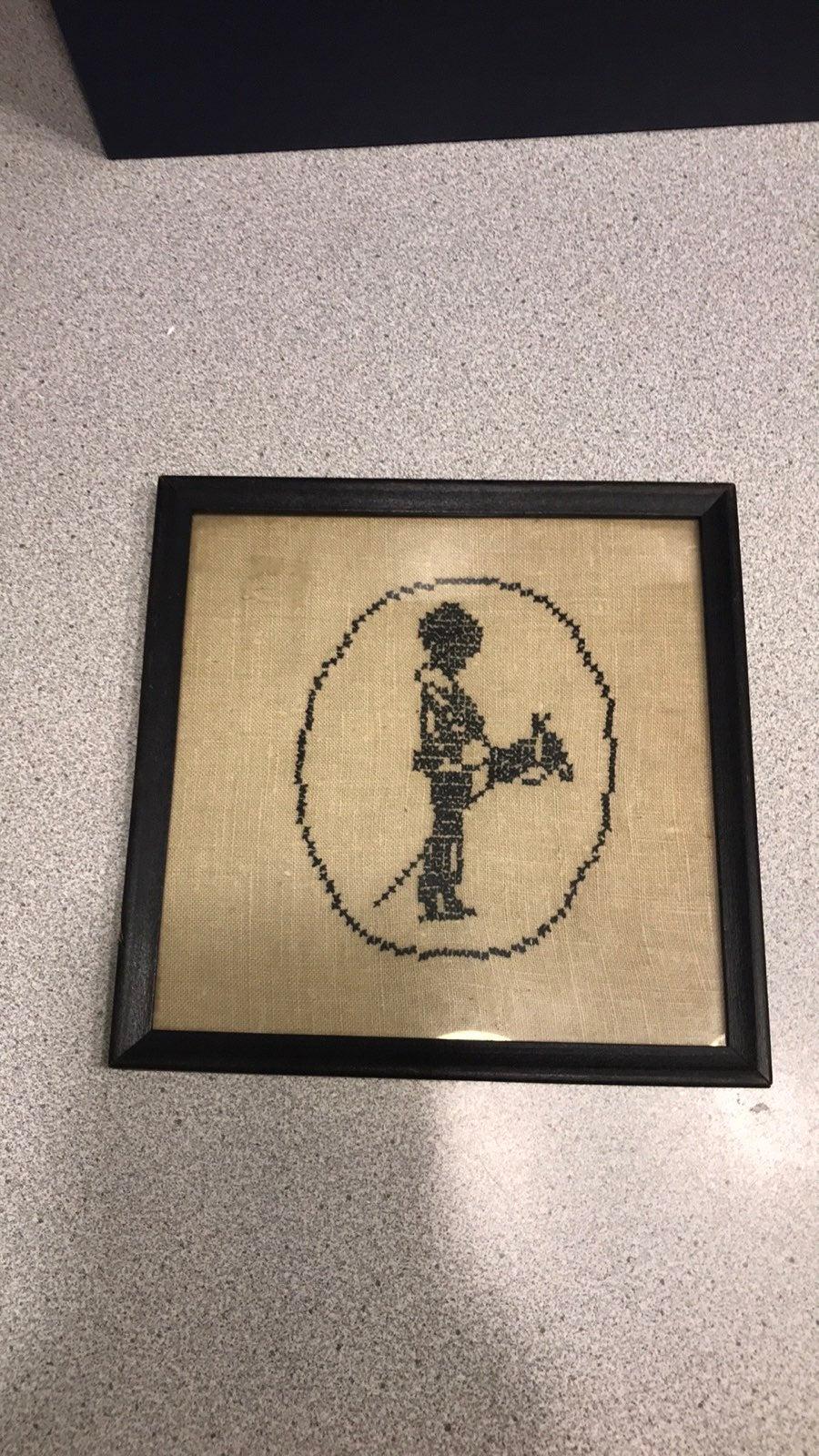 Vintage Cross-stitch Framed boy and hors