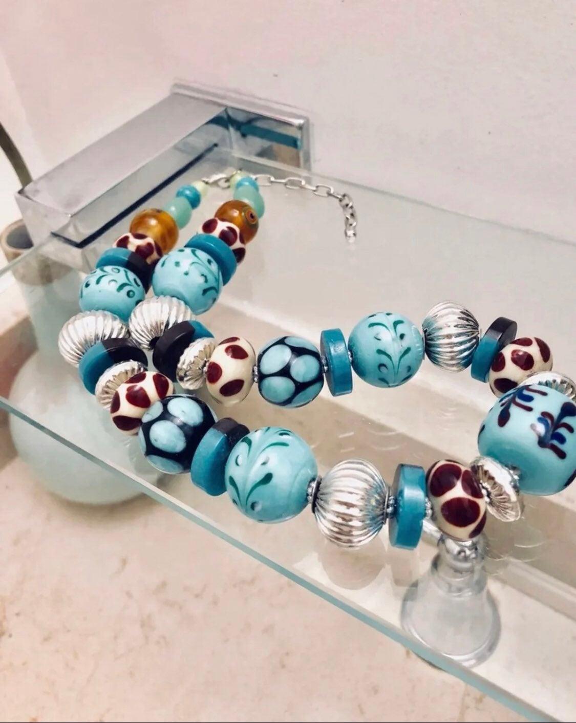 Blue ceramic necklace - new