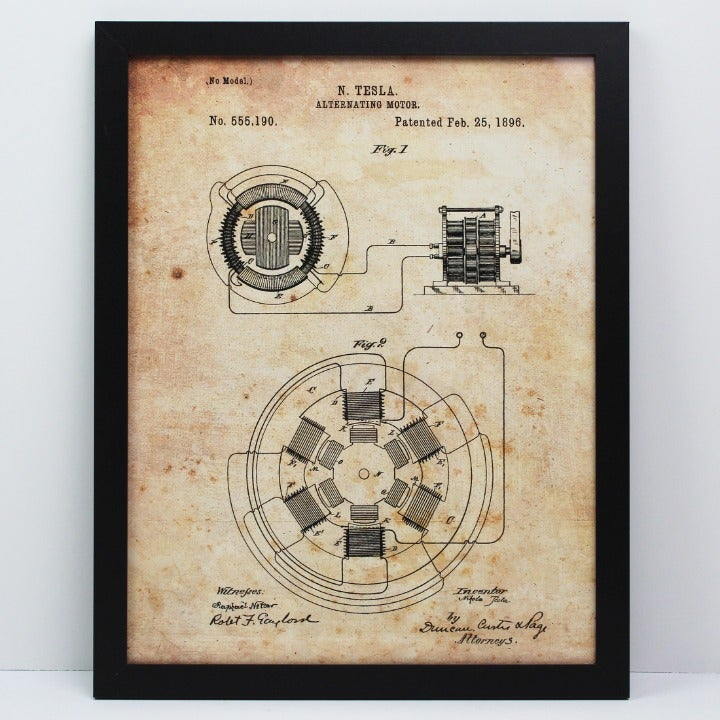 "Nikola Tesla Motor Patent 8.5x11"" Framed"