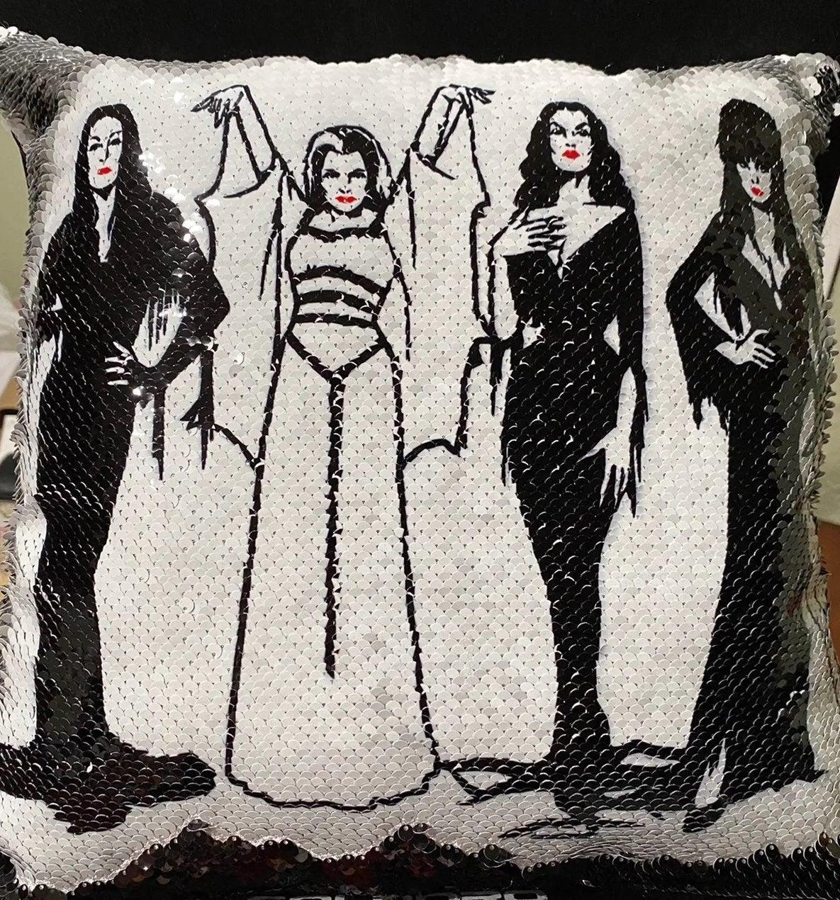 Custom pressed Ghouls sequin pillow case