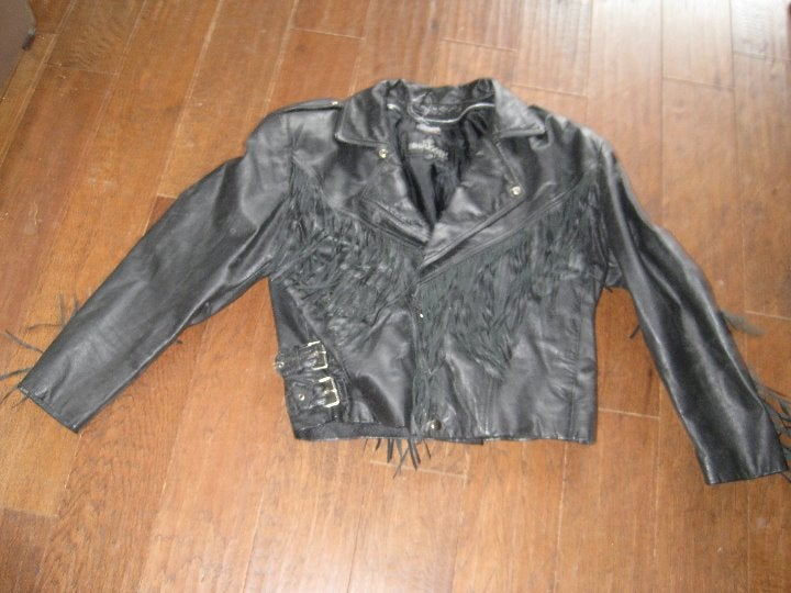 Bermans  ladys lg fringed biker jacket