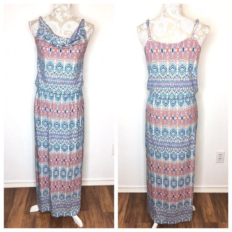 CAbi Maxi Dress multi color Drape Neck