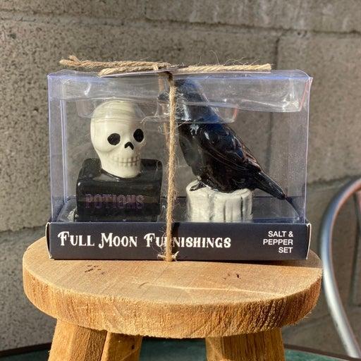 Halloween skull & raven salt and pepper