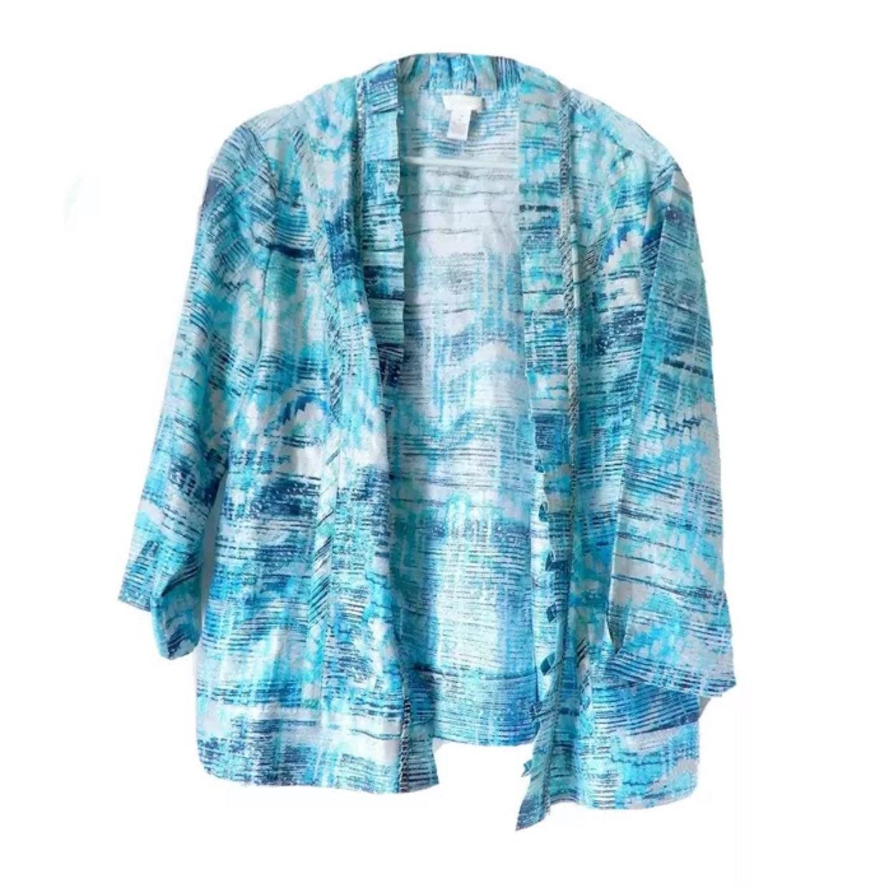 Chicos 2 Aqua Blue Linen Jacket