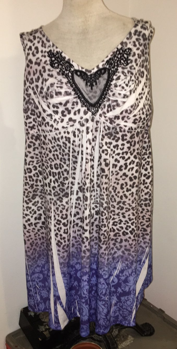 One World Animal Print Sleep Dress 2X