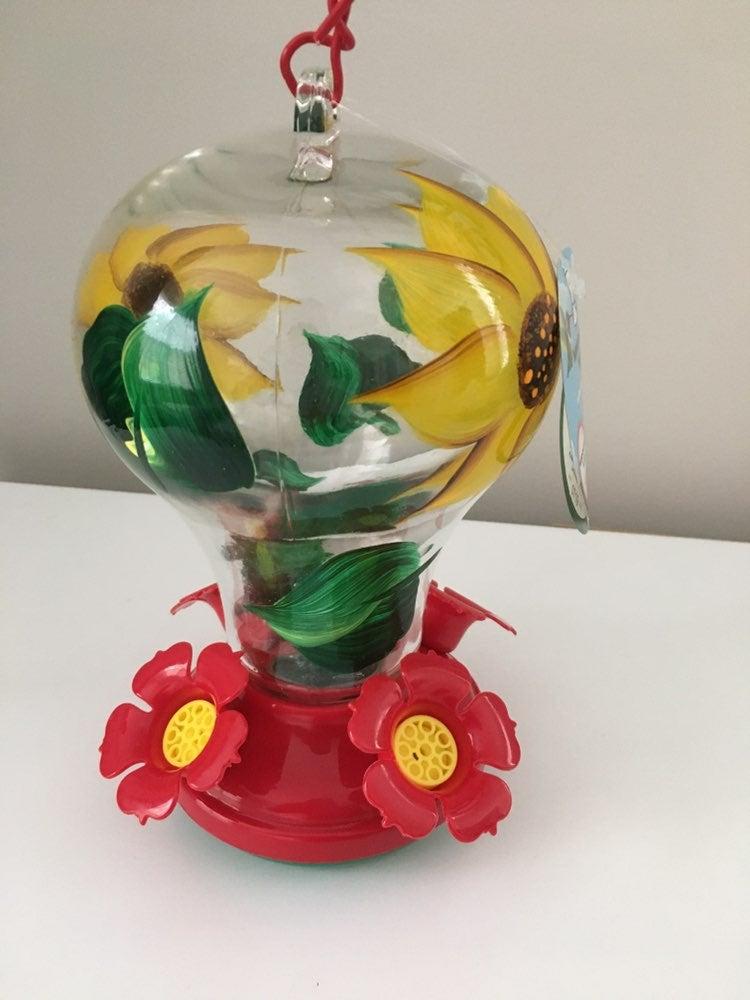 Hand Painted Sunflower Glass Hummingbird