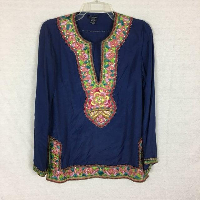 Boston Proper Embroidered Beaded Tunic M