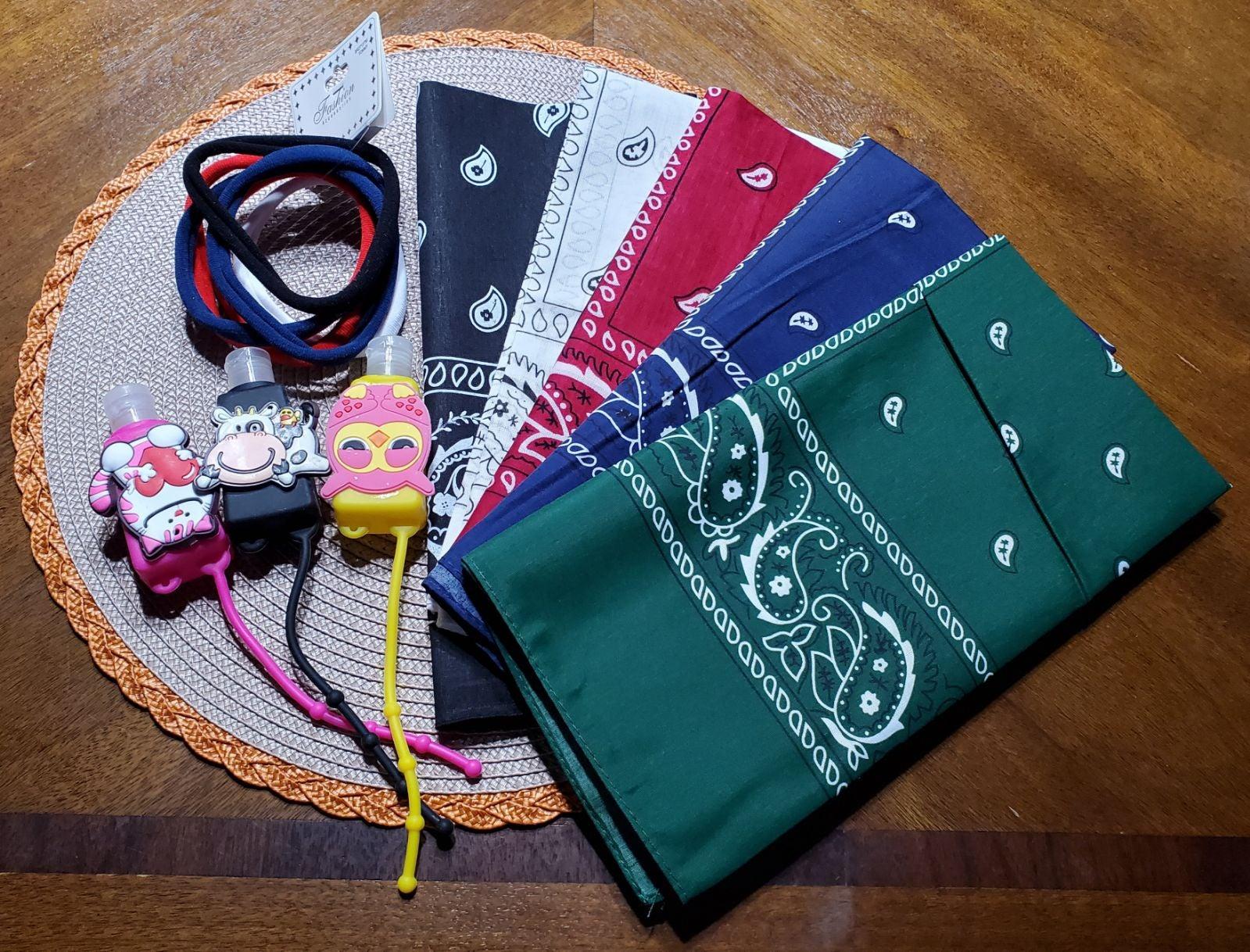 bandana with hair ties and sani