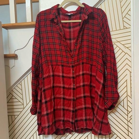 J Jill Plaid Flannel Tunic Button Up