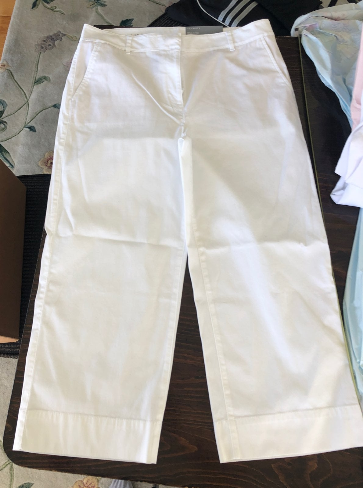 Talbots wide crop white size 10 pants