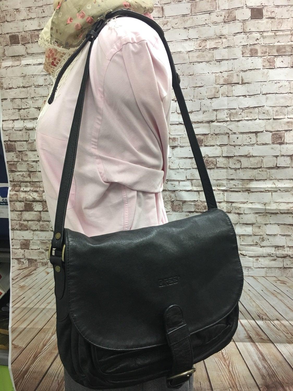 VTG BREE Black Leather Handbag Bag Purse