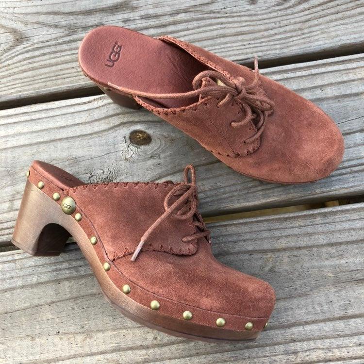 UGG rust suede studded clogs heels 7