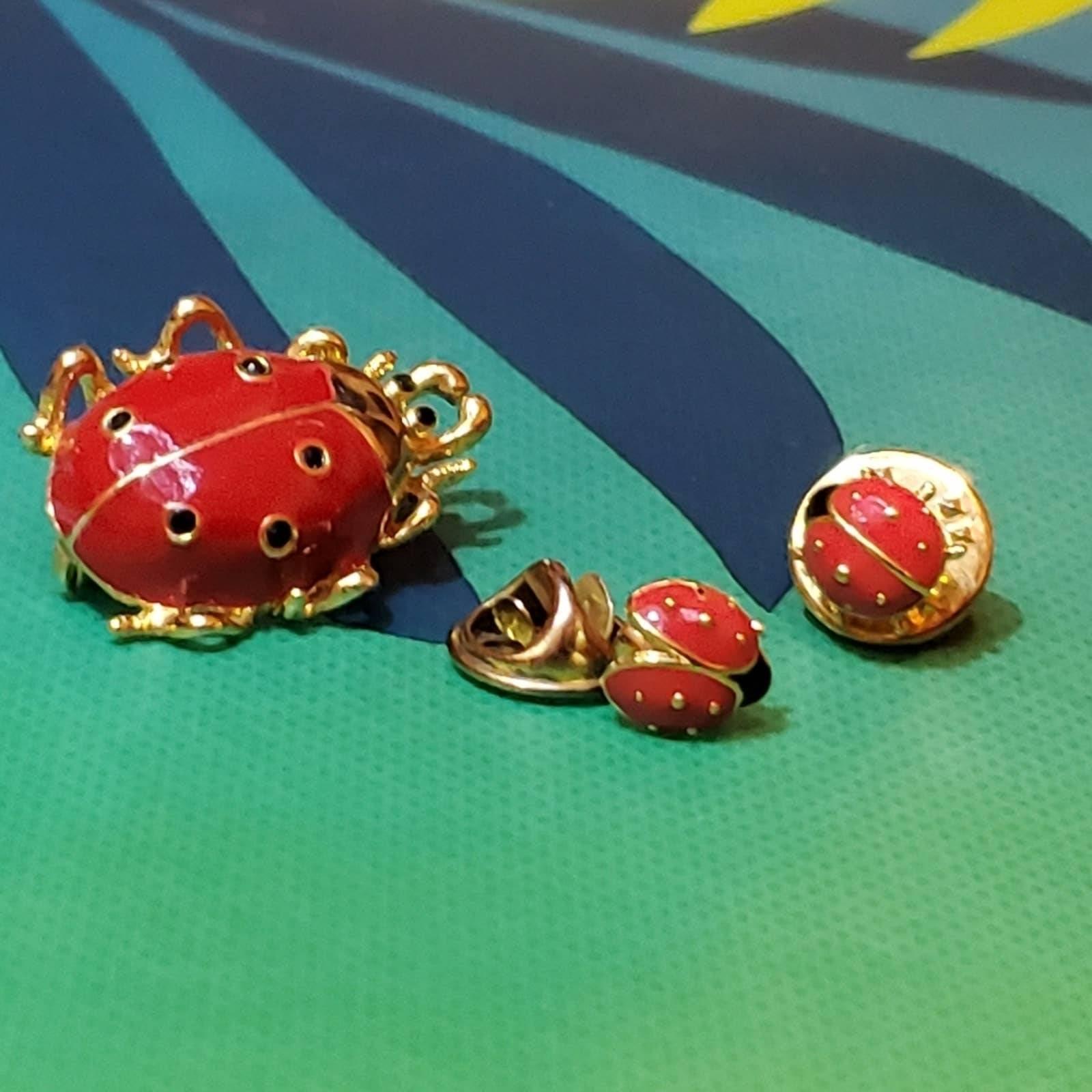 Vintage Ladybug Enamel Brooch Lapel Pins