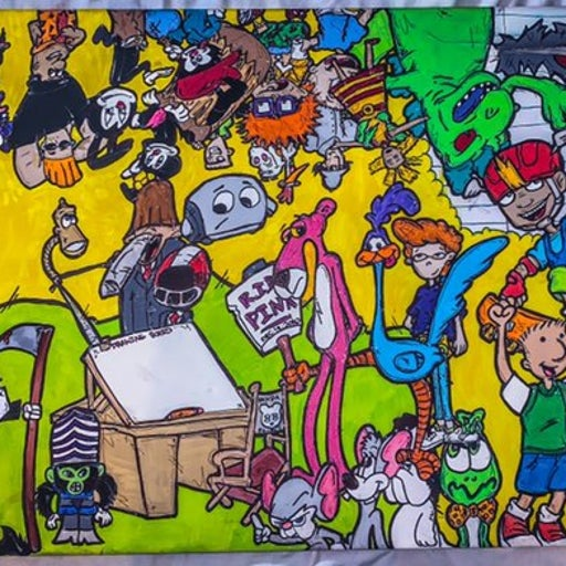 90s cartoon art canvas