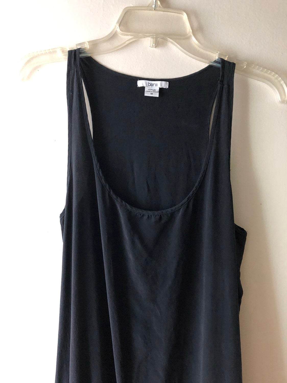 Bar lll Black Silk Maxi Dress Slip w/ Po
