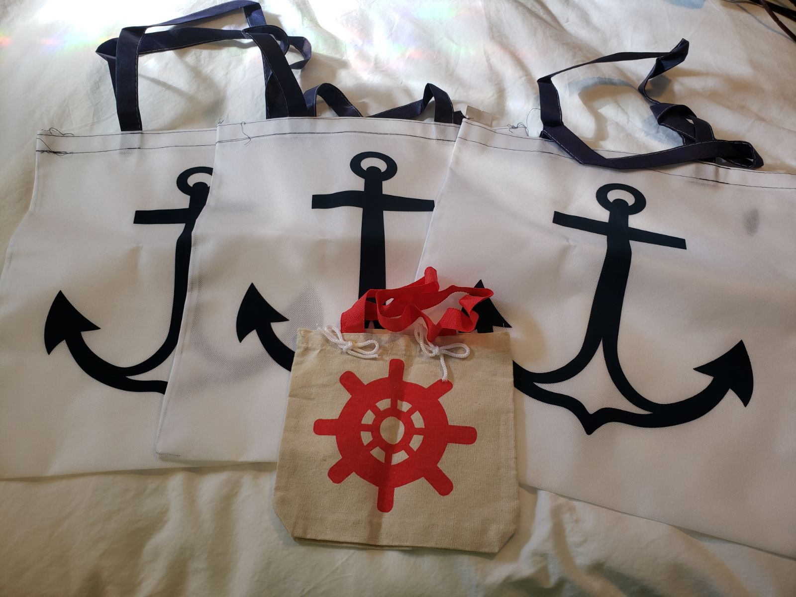 Set of 4 anchor/nautical tote bags