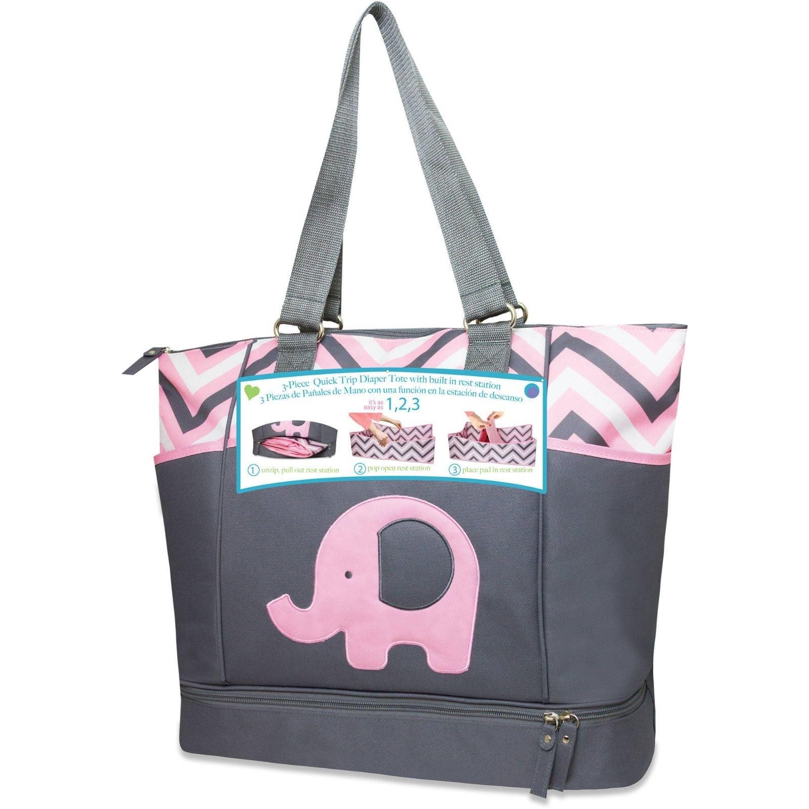 Porta Bed Diaper Bag Pink Gray