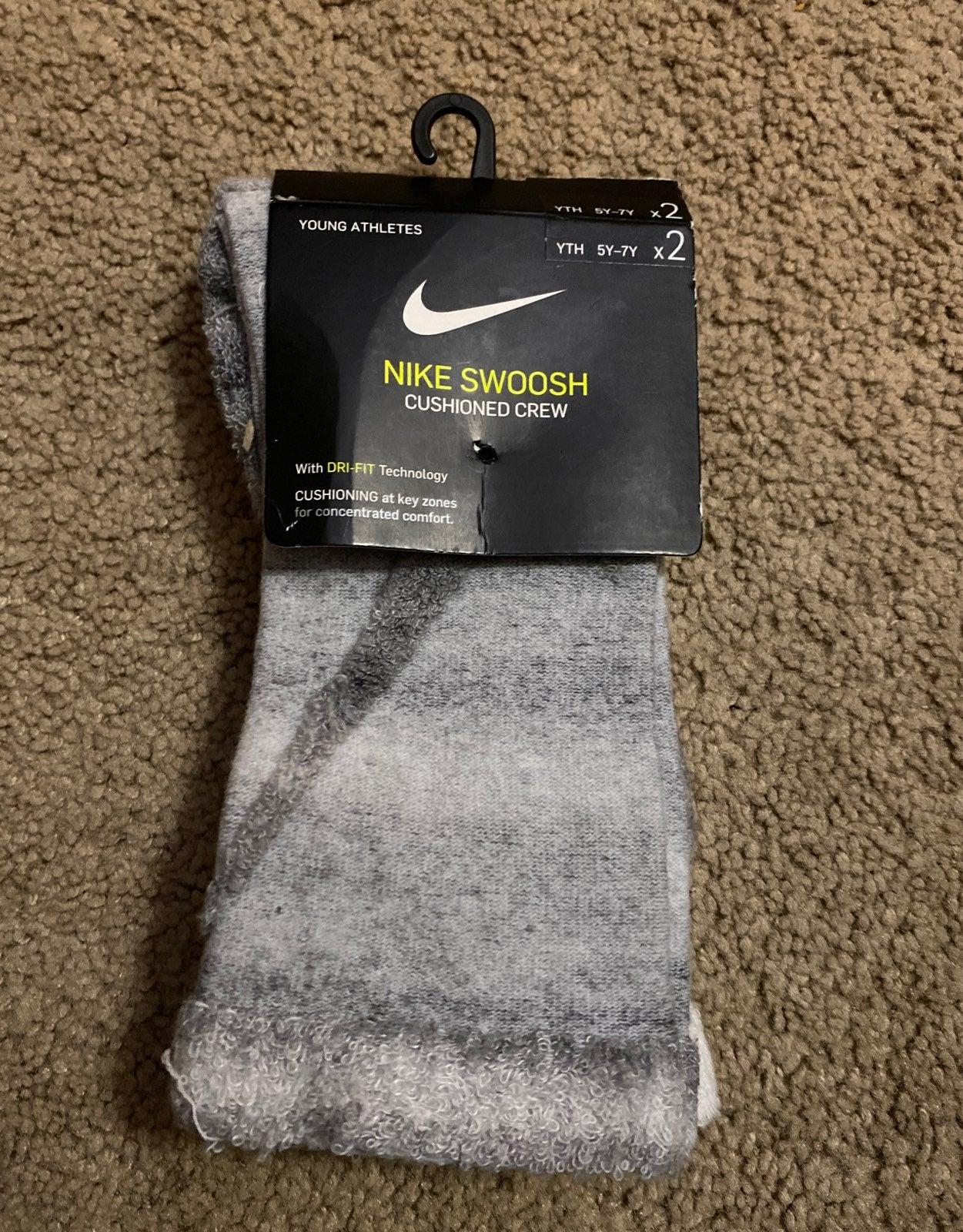 Youth Nike Swoosh cushioned crew socks