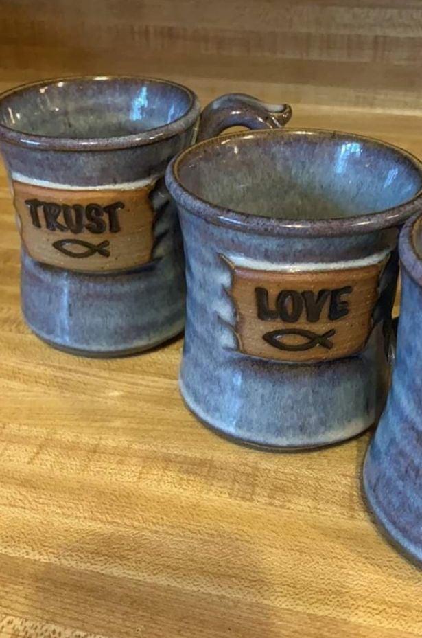 Handmade pottery mugs, set of 4