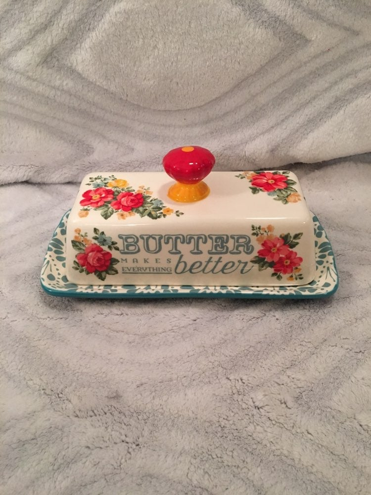New Pioneer Woman floral butterdish.