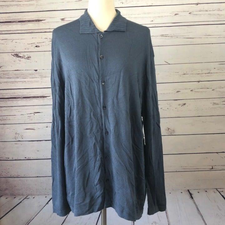 Bachrach XL Button Down Shirt L/S Blue