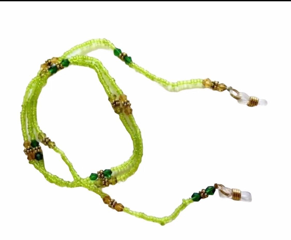Green beaded eyeglass holders - new