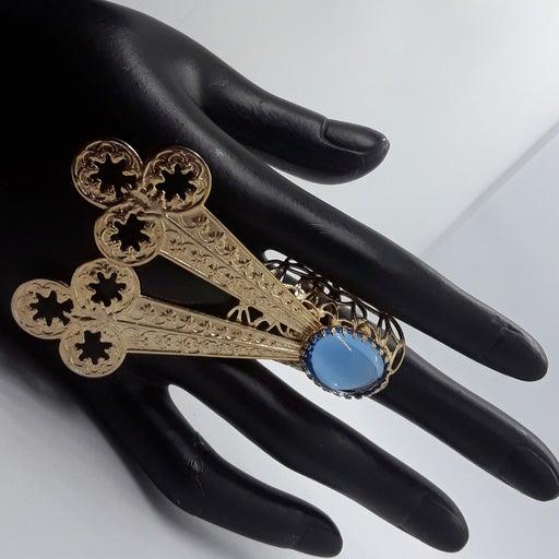 Vintage custom design blue cabochon ring