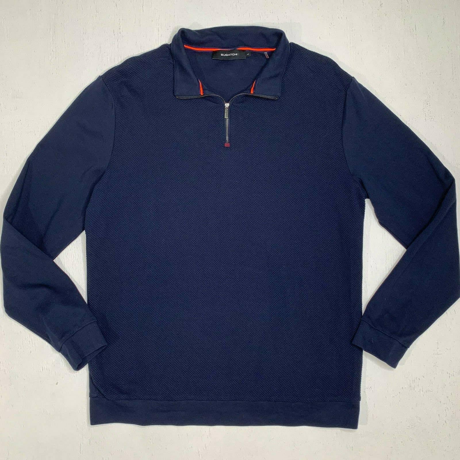 Bugatchi Shirt 1/4 Zip Texture Navy Blue