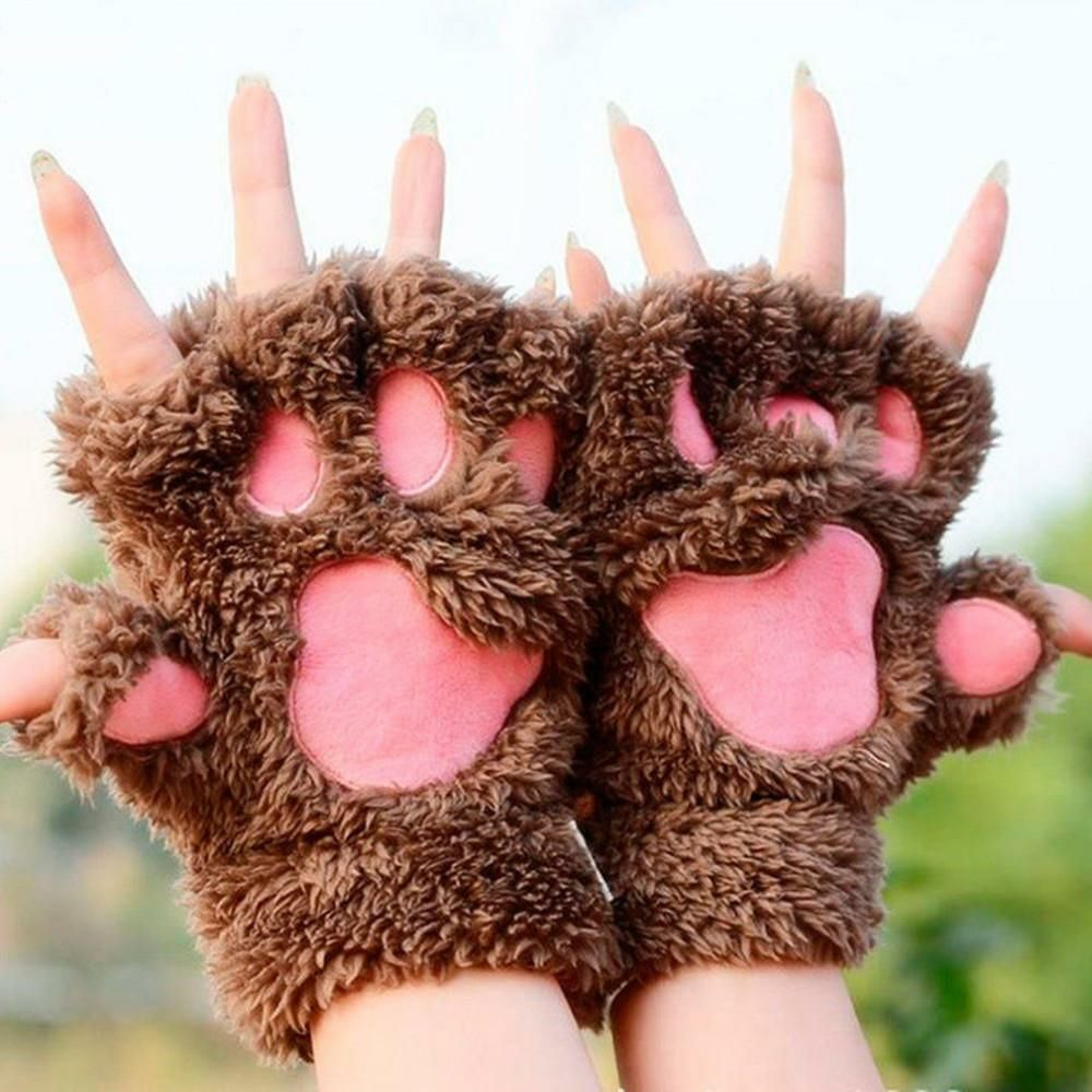 Cute Kawaii Paw Fingerless Gloves