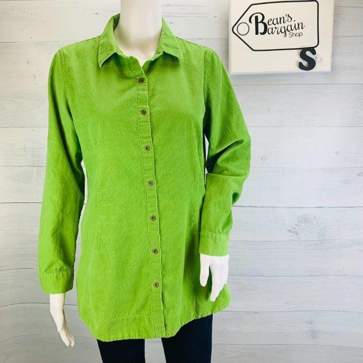 J Jill Corduroy Tunic Top Green Sz S Minor Flaw