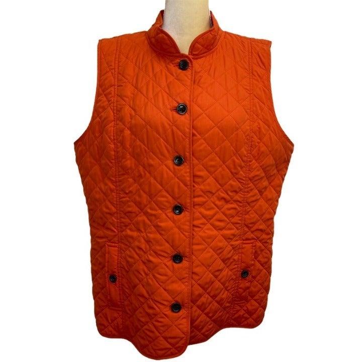 J. Jill Orange Quilted Button up Vest